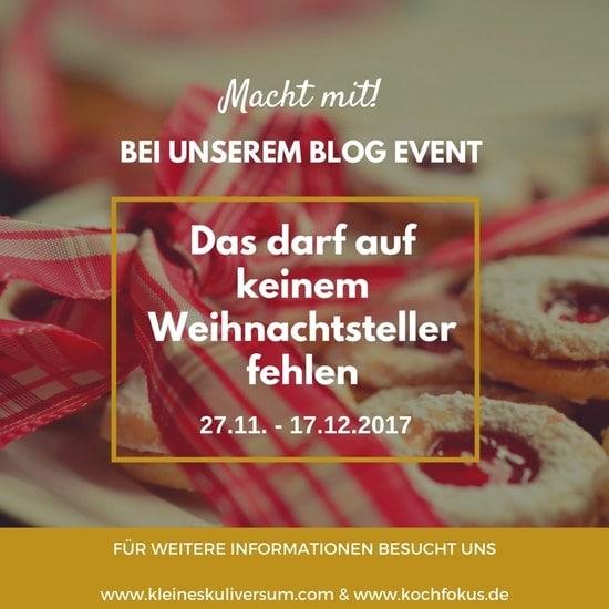 """Banner zum Blogevent """"Das darf auf keinem Weihnachtsteller fehlen"""""""