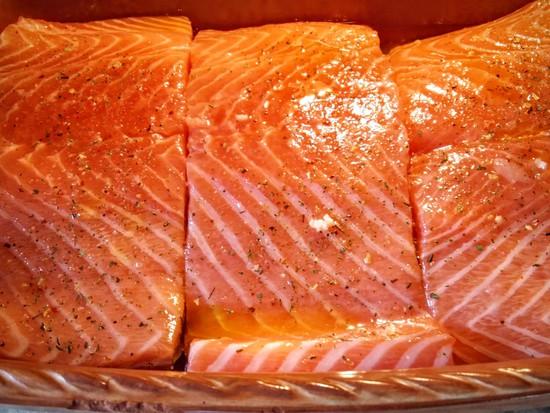 Nun die Lachsfilets mit der Hautseite nach unten in die Auflaufform legen und mit Salz und dem italienischen Gewürzsalz würzen.