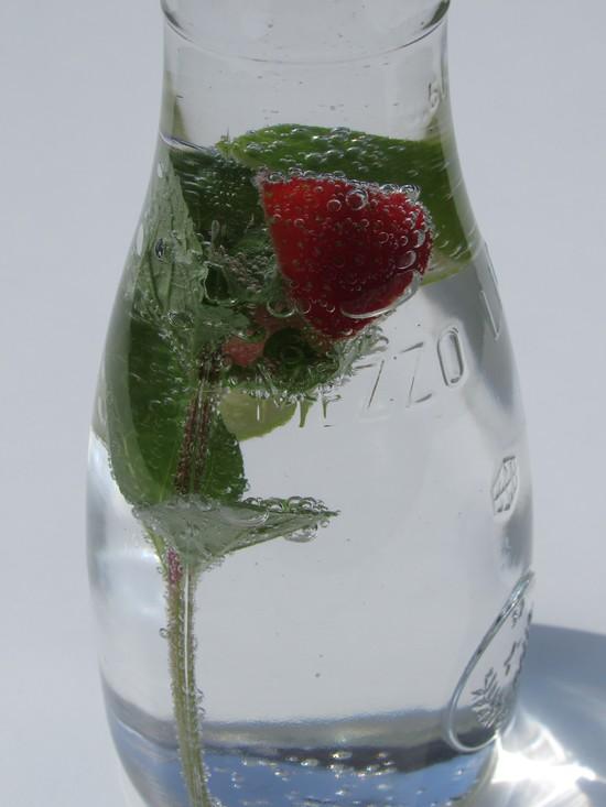 Das Wasser jetzt aufsprudeln und die Wasserkaraffe (in meine passen etwa 0,75 l Flüssigkeit) damit auffüllen.